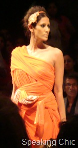 Orange drape dress at Vizyon LFW