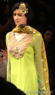 Model in green kurta with hair ornament at Anupama Dayal