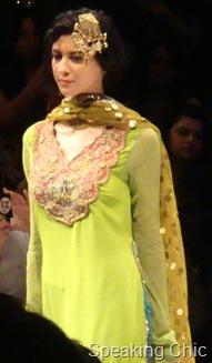 Model in green kurta with hair ornament at Anupama Dayal