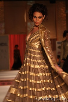 Gold kurta with jacket at Rohit Bal couture week