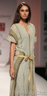 Subtle green dress at Wendell Rodricks WLIFW