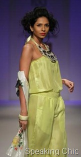 Preeti Chandra's green outfit at WLIFW