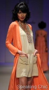Preeti Chandra orange jacket at WLIFW