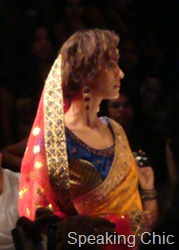Anupama Dayal sari in gold LFW