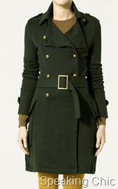 Zara military style coat winter 2010