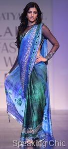 Satya Paul blue sari at Lakme Fashion Week