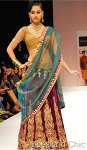 Shyamal & Bhumika Shodhan lehenga in jewel tones