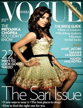 Priyanka Chopra in Louis Vuitton on cover of Vogue India November 2010