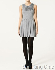 Zara grey knit dress  with accordion pleats