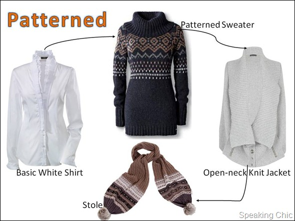 Winter layering patterned: shirt, sweater, jacket, accessories