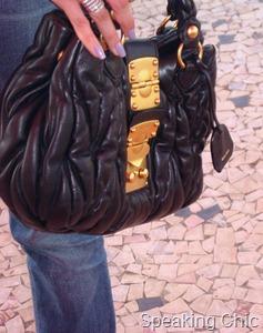Black Miu Miu bag accessory nailpolish
