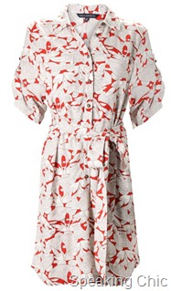 French Connection red and white shirt dress
