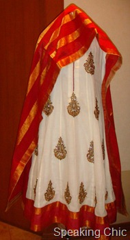 Alpa-Reena red and white kurta churidar dupatta