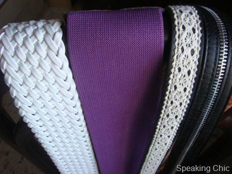 Belts: white, purple, lace, black