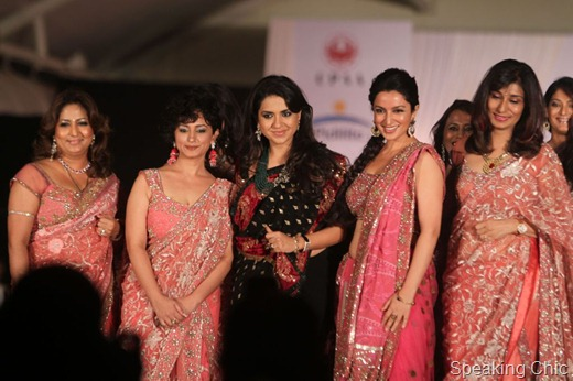 Shaina NC with models Divya Dutta, Tisca Chopra
