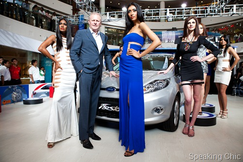 Models with Michael Boneham of Ford India showcasing Fiesta Futuristic Collection designed by Swapnil Shinde