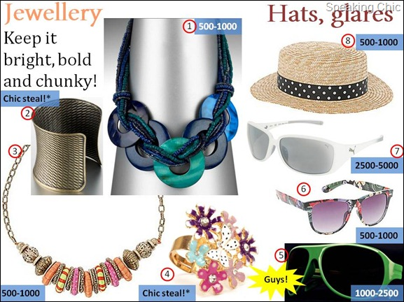 Chic summer accessories- jewellery, hats, sunglasses