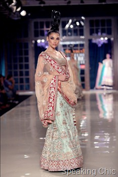 Model in mint green lehenga at Manish Malhotra Delhi Couture Week 2011