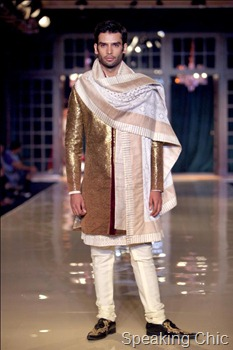 Model in gold sherwani at Manish Malhotra Delhi Couture Week 2011