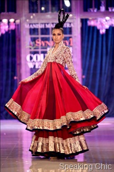Model in red lehenga at Manish Malhotra Delhi Couture Week 2011