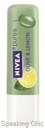 Nivea pure & natural lip care Olive_Lemon