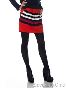 Vero Moda Lilu stripe short skirt tomato red