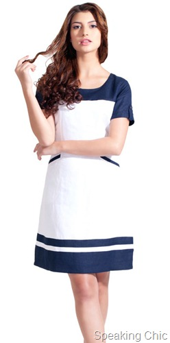 AND-Navy white linen dress